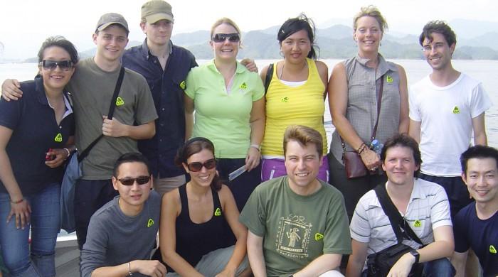 Grupo de estudiantes en Shangai