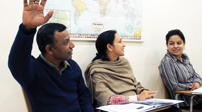 Alumnos de inglés en Nueva Delhi