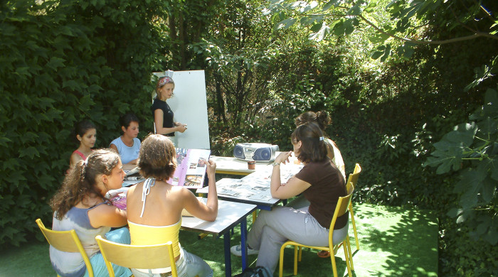 familias estudiando frances